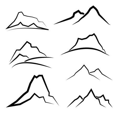 rocky mountain: Abstract minimal mountain landscape symbol set, black and white, vector illustrations Illustration