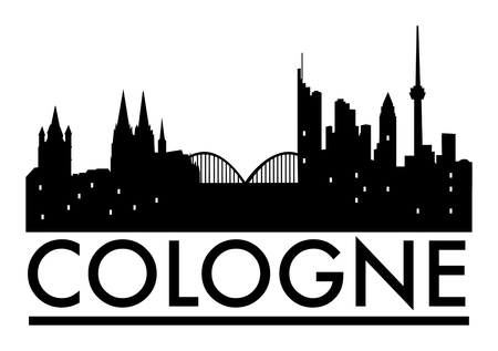 cologne: Abstract Cologne skyline, with various landmarks, vector illustration