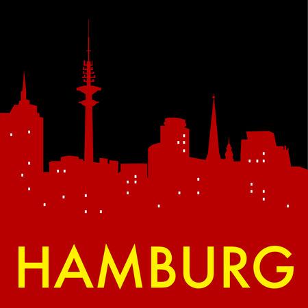 hamburg: Abstract Hamburg skyline, with various landmarks, vector illustration Illustration