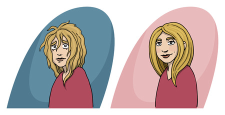 cut hair: Girl, before and after concept, hair cut, hair treatment, character, vector illustration