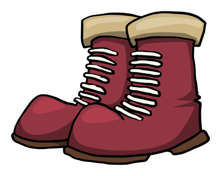 Red boots, isolated on white, drawn, vector illustration Ilustrace