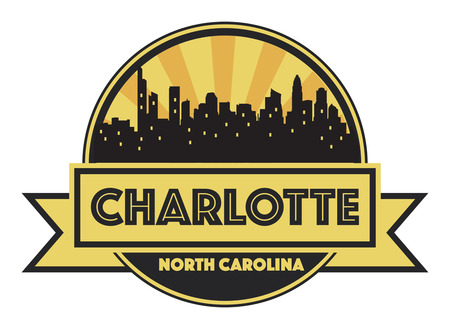 charlotte: Abstract skyline charlotte, with various landmarks, vector illustration