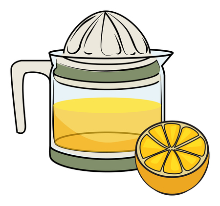 hand drawn juicer, with halved orange vector illustration, isolated on white
