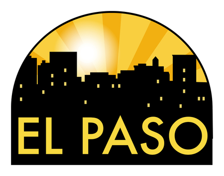 Abstract skyline El paso with various landmarks, vector illustration