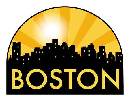 Abstract skyline Boston, with various landmarks, vector illustration