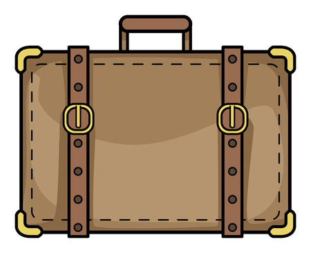 old suitcase: old suitcase, vector illustration, isolated on white