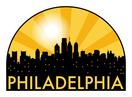 Abstract skyline Philadelphia, with various landmarks, vector illustration