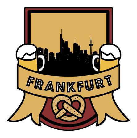 Symbol, German city, with abstract skyline, Frankfurt, beer and pretzel, vector illustration
