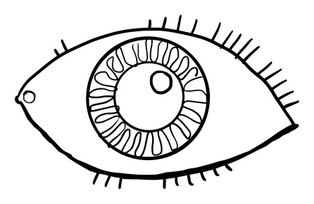 Hand drawn, eye, vector illustration, isolated on white