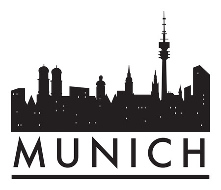 Abstract Munich skyline, with various landmarks, vector illustration