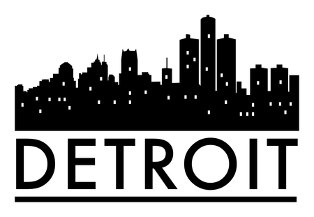 Abstract skyline Detroit, with various landmarks, vector illustration