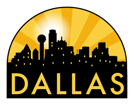 Abstract skyline Dallas, with various landmarks, vector illustration