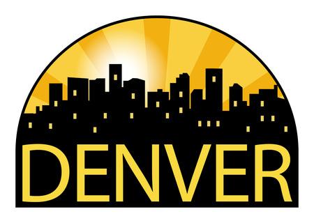 Abstract skyline Denver, with various landmarks, vector illustration