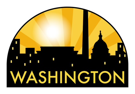 Abstract skyline Washington with various landmarks, vector illustration Ilustrace