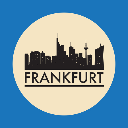 Abstract Frankfurt, skyline, with various landmarks, vector illustration Ilustrace
