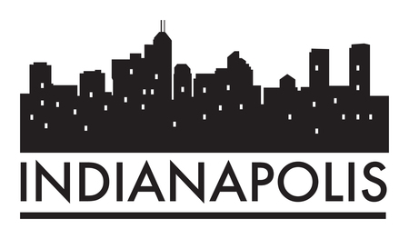 indianapolis: Abstract skyline Indianapolis, with various landmarks, vector illustration