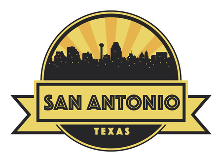 Abstract skyline San Antonio, with various landmarks, vector illustration