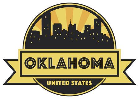 Abstract skyline Oklahoma, with various landmarks, vector illustration