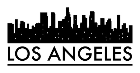 Abstract skyline Los Angeles, with various landmarks, vector illustration