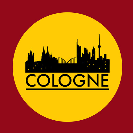 Abstract Cologne skyline, with various landmarks, vector illustration