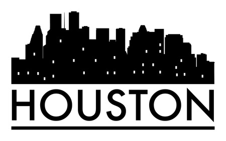 Abstract skyline Houston, with various landmarks, vector illustration