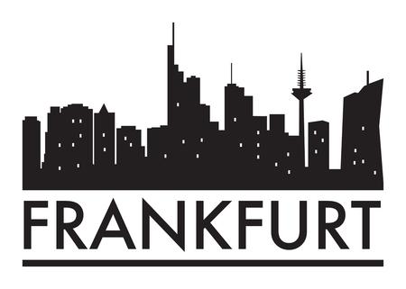 Abstract Frankfurt, skyline, with various landmarks, vector illustration Vettoriali