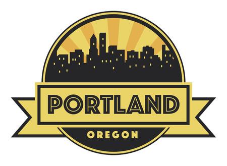 portland: Abstract skyline Portland with various landmarks, vector illustration Illustration
