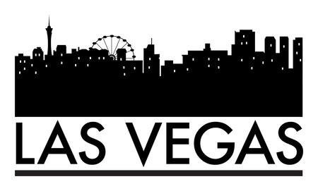 vegas: Abstract skyline Las Vegas with various landmarks, vector illustration Illustration
