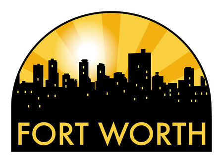 worth: Abstract skyline Fort Worth, with various landmarks, vector illustration