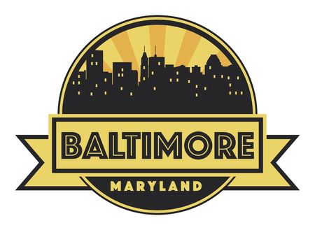baltimore: Abstract skyline Baltimore with various landmarks, vector illustration Illustration