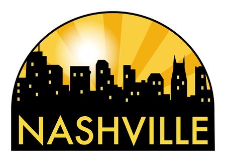 Abstract skyline Nashville, with various landmarks, vector illustration Illustration