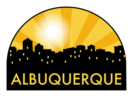 albuquerque: Abstract skyline Albuquerque, with various landmarks, vector illustration