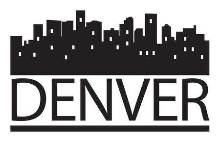 skyline of denver: Abstract skyline Denver, with various landmarks, vector illustration