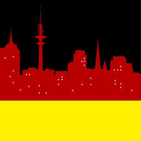 Abstract Hamburg skyline, with various landmarks, vector illustration Illustration