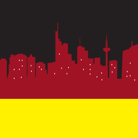 frankfurt: Abstract Frankfurt, skyline, with various landmarks, vector illustration Illustration