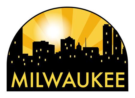 milwaukee: Abstract skyline Milwaukee, with various landmarks, vector illustration