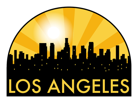 los: Abstract Los Angeles skyline in the evening, with warm orange burst, vector illustration