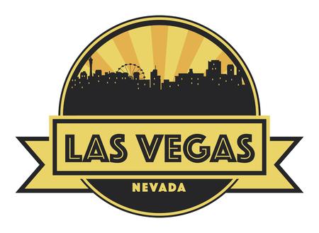 Abstract skyline Las Vegas with various landmarks, vector illustration