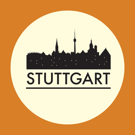 stuttgart: Abstract Stuttgart skyline, with various landmarks, vector illustration