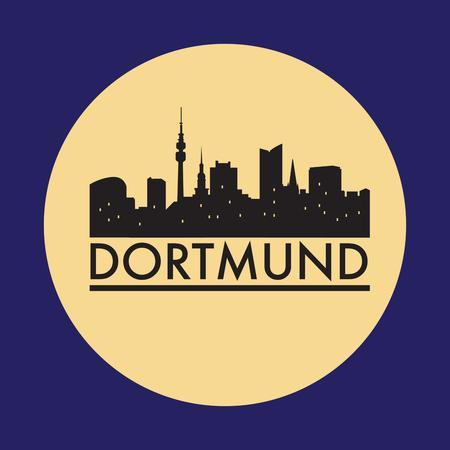 Abstract Dortmund skyline, with various landmarks, vector illustration