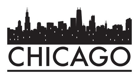 夜には、暖かいオレンジ バースト、ベクトル図でのシカゴのスカイラインを抽象化します。
