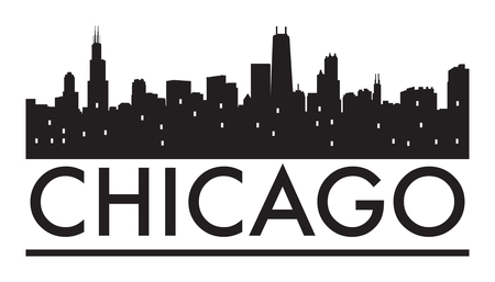 Abstracte horizon van Chicago in de avond, met warm oranje burst, vector illustratie
