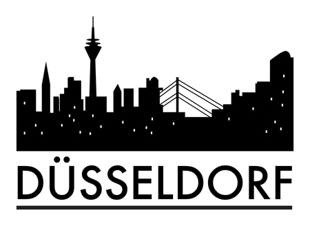Abstract Dusseldorf skyline, with various landmarks, with cities name in German language, vector illustration Ilustrace