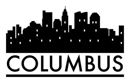 Abstract skyline Columbus, with various landmarks, vector illustration