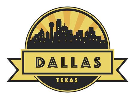 dallas: Abstract skyline Dallas, with various landmarks, vector illustration