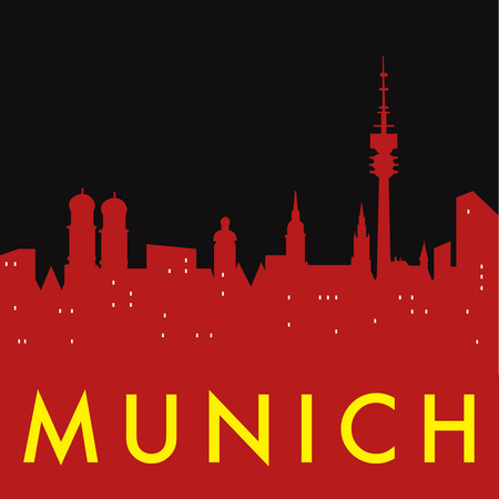 munich: Abstract Munich skyline, with various landmarks, vector illustration
