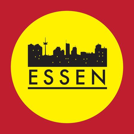 Abstract Essen, skyline, with various landmarks, vector illustration