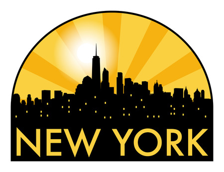 new york skyline: Abstract skyline New York, with various landmarks, vector illustration