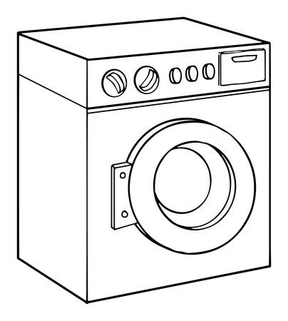 lavando ropa: Lavadora, ilustración vectorial