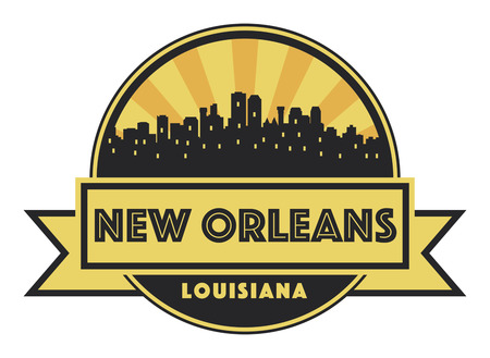 Abstract skyline New Orleans, with various landmarks, illustration Ilustrace